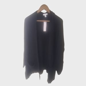New Topshop Rib Trim Open Front Cardigan Sweater S
